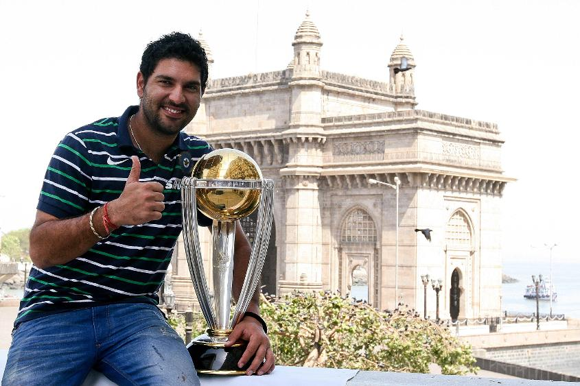 Yuvraj Singh poses with the Cricket World Cup