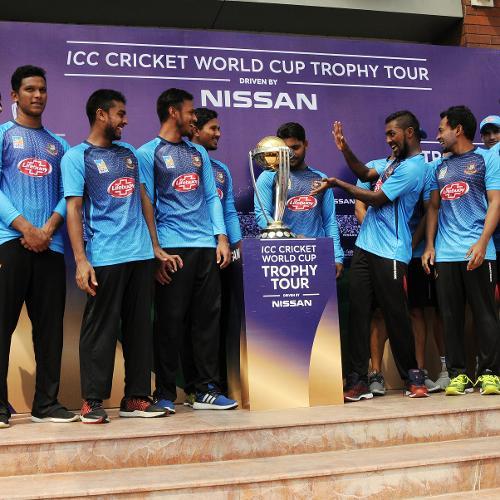 Bangladesh team with the ICC World Cup trophy