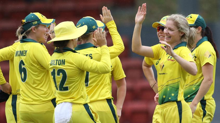 Nicola Carey, like Schutt, picked up three wickets in Australia's win