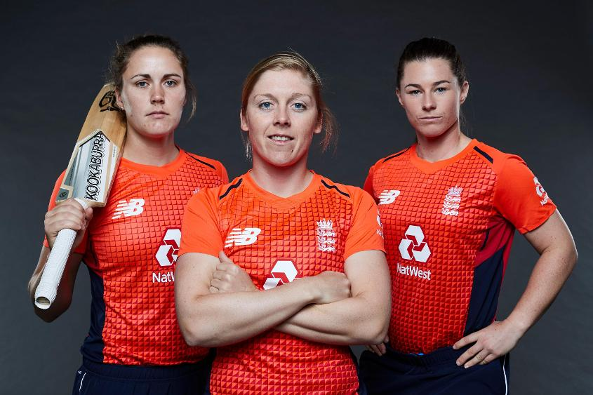 Nat Sciver, Tammy Beaumont and Heather Knight