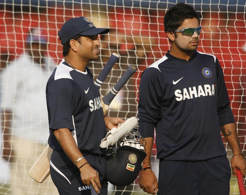 Kohli and Tendulkar, the man whose records Kohli is now breaking