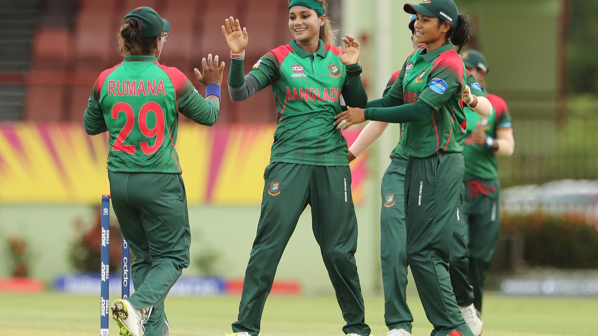 Jahanara Alam (C) of Bangladesh celebrates with teammates Rumana Ahmed (L) and Sanjida Islam (R) during the ICC Women's World T20 warm up match between Bangladesh and Ireland on November 4, 2018 at the Guyana National Stadium in Providence, Guyana.