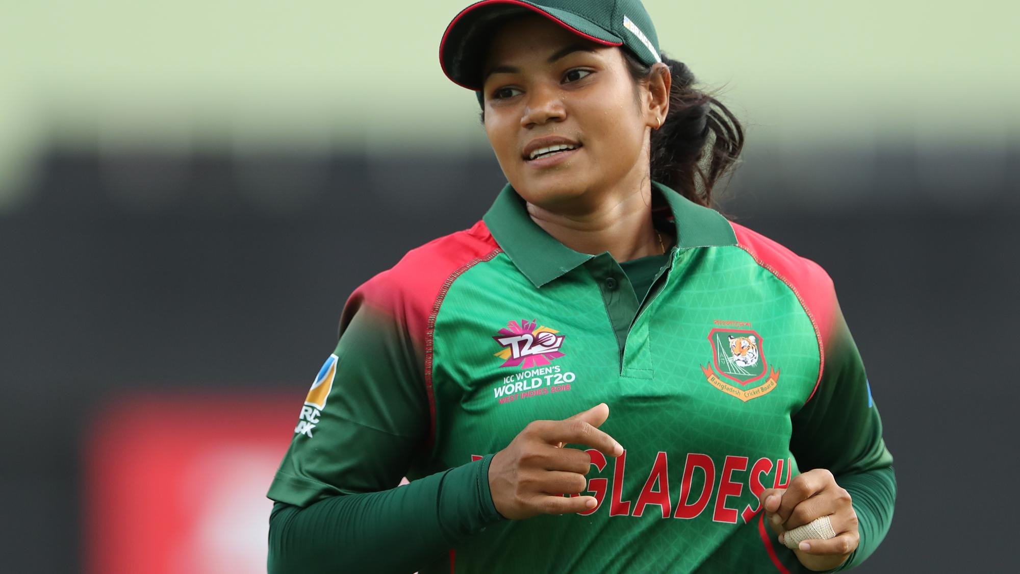 Sanjida Islam of Bangladesh during the ICC Women's World T20 warm up match between Bangladesh and Ireland on November 4, 2018 at the Guyana National Stadium in Providence, Guyana.