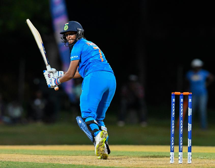 Harmanpreet Kaur of India hits 4 during a warm-up match at Coolidge Cricket Ground on November 4, 2018 in Coolidge, Antigua and Barbuda.