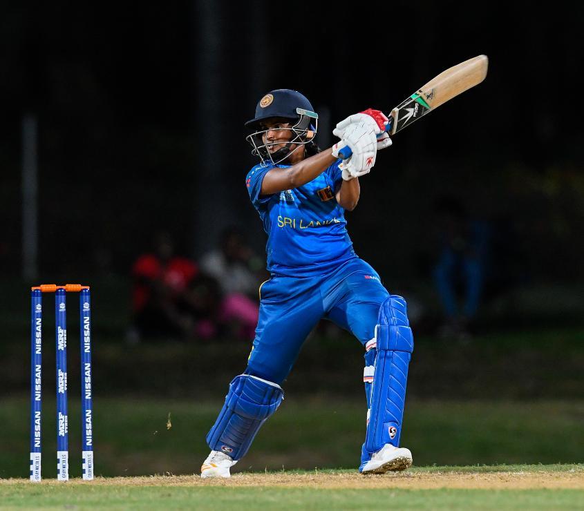 Shashikala Siriwardena of Sri Lanka hits 4 during a warm-up match at Coolidge Cricket Ground on November 4, 2018 in Coolidge, Antigua and Barbuda.