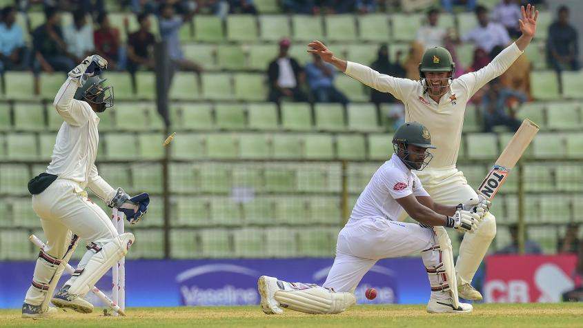 Imrul Kayes was dismissed for 43 – the top-score for Bangladesh in their second innings