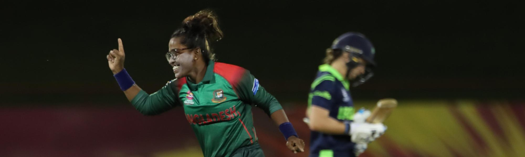 Rumana Ahmed of Bangladesh celebrates a wicket as both teams practice a super-over during the ICC Women's World T20 warm up match between Bangladesh and Ireland on November 4, 2018 at the Guyana National Stadium in Providence, Guyana.