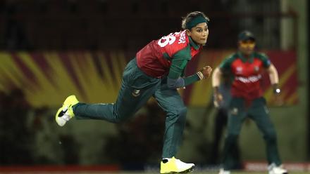 Jahanara Alam of Bangladesh bowls during the warm up match between Bangladesh v Pakistan: Warm Up - ICC Women's World T20 2018 November 6, 2018 at the Guyana National Stadium in Providence, Guyana.
