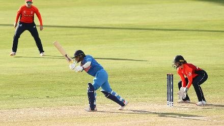 Mithali Raj of India bats with Amy Jones wicket keeper of England looking on during the warm up match between West Indies and New Zealand ahead of the ICC Women's World T20 2018 tournament at Guyana National Stadium on November 7, 2018.