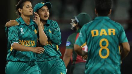 Aiman Anwer and Umaima Sohail of Pakistan celebrate during the warm up match between Bangladesh v Pakistan: Warm Up - ICC Women's World T20 2018 November 6, 2018 at the Guyana National Stadium in Providence, Guyana.