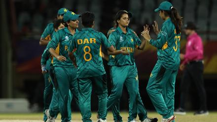 Pakistan celebrate as Aiman Anwer (C) picks up a wicket during the warm up match between Bangladesh v Pakistan: Warm Up - ICC Women's World T20 2018 November 6, 2018 at the Guyana National Stadium in Providence, Guyana.