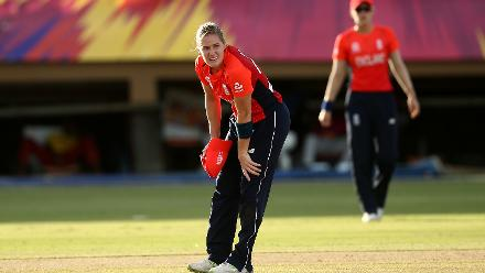 Katherine Brunt of England looks on dejected before leaving the field with an injury during the warm up match between West Indies and New Zealand ahead of the ICC Women's World T20 2018 tournament at Guyana National Stadium on November 7, 2018.