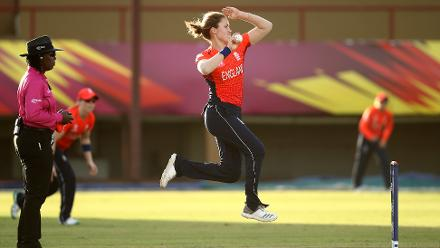Natalie Sciver of England bowls during the warm up match between West Indies and New Zealand ahead of the ICC Women's World T20 2018 tournament at Guyana National Stadium on November 7, 2018 in Georgetown, Guyana.