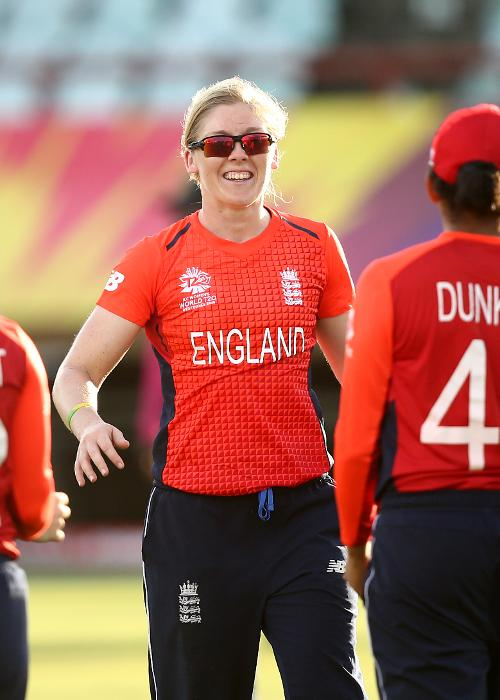 Heather Knight of England celebrates a wicket with team mates during the warm up match between West Indies and New Zealand ahead of the ICC Women's World T20 2018 tournament at Guyana National Stadium on November 7, 2018 in Georgetown, Guyana.