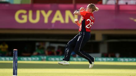 Katherine Brunt of England bowls during the warm up match between West Indies and New Zealand ahead of the ICC Women's World T20 2018 tournament at Guyana National Stadium on November 7, 2018 in Georgetown, Guyana.