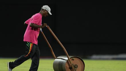 A member of the ground staff pushes out the light roller during the warm up match between Bangladesh v Pakistan: Warm Up - ICC Women's World T20 2018 November 6, 2018 at the Guyana National Stadium in Providence, Guyana.