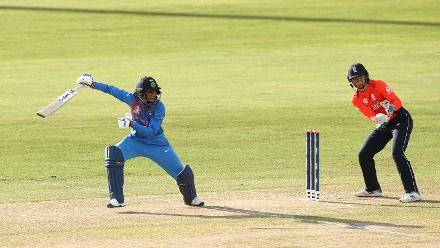 Smriti Mandhana of India bats with Amy Jones wicket keeper of England looking on during the warm up match between West Indies and New Zealand ahead of the ICC Women's World T20 2018 tournament at Guyana National Stadium on November 7, 2018.