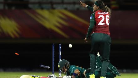 Nahida Khan of Pakistan is run out by Lata Mondal of Bangladesh as teammate Jahanara Alam looks on during the warm up match between Bangladesh v Pakistan: Warm Up - ICC Women's World T20 2018 November 6, 2018 at the Guyana National Stadium.