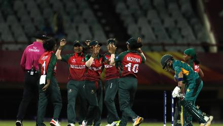 Bangladesh celebrate the run out of Nahida Khan of Pakistan during the warm up match between Bangladesh v Pakistan: Warm Up - ICC Women's World T20 2018 November 6, 2018 at the Guyana National Stadium in Providence, Guyana.