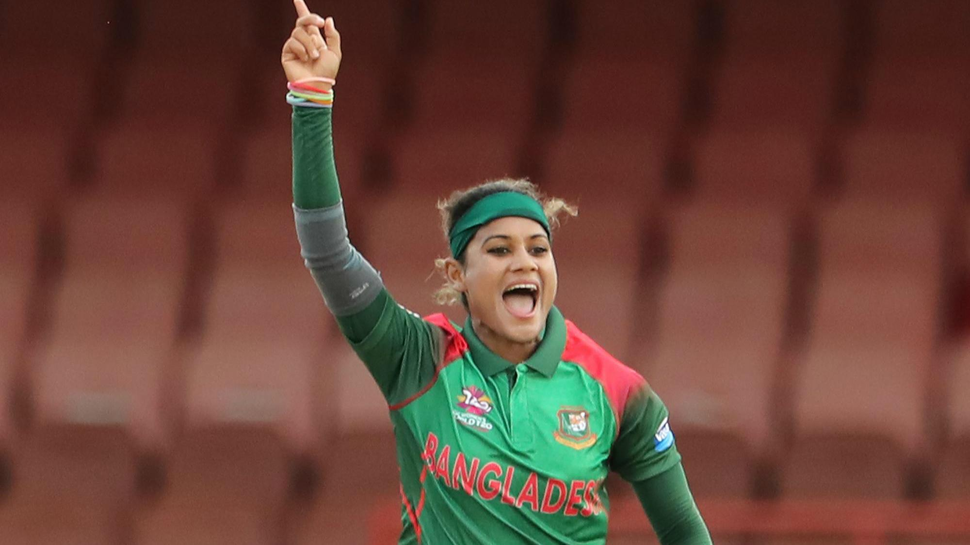Jahanara Alam of Bangladesh celebrates the wicket of Ireland's Clare Shillington during the ICC Women's World T20 warm up match between Bangladesh and Ireland on November 4, 2018 at the Guyana National Stadium in Providence, Guyana.