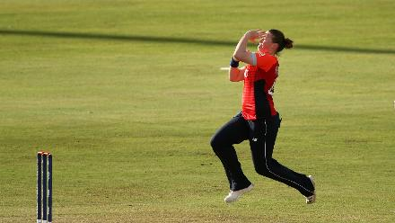 Anya Shrubsole of England bowls during the warm up match between West Indies and New Zealand ahead of the ICC Women's World T20 2018 tournament at Guyana National Stadium on November 7, 2018 in Georgetown, Guyana.