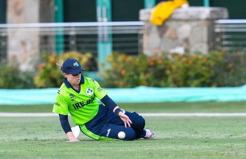 Cecelia Joyce of Ireland fielding during a warm-up match at Coolidge Cricket Ground on November 7, 2018 in Coolidge, Antigua and Barbuda.