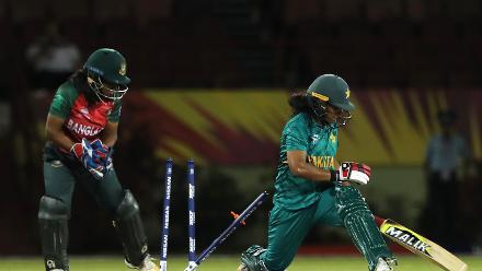 Ayesha Zafar of Pakistan avoids getting stumped by Shamima Sultana of Bangladesh during the warm up match between Bangladesh v Pakistan: Warm Up - ICC Women's World T20 2018 November 6, 2018 at the Guyana National Stadium in Providence, Guyana.