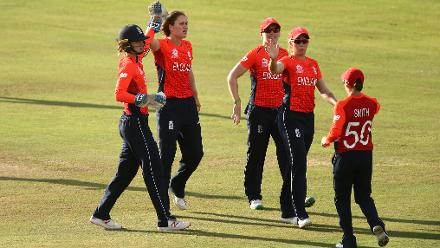 Natalie Sciver of England celebrates a wicket with team mates during the warm up match between West Indies and New Zealand ahead of the ICC Women's World T20 2018 tournament at Guyana National Stadium on November 7, 2018 in Georgetown, Guyana.