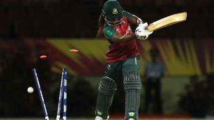 Ayasha Rahman of Bangladesh is bowled by Aiman Anwer of Pakistan during the warm up match between Bangladesh v Pakistan: Warm Up - ICC Women's World T20 2018 November 6, 2018 at the Guyana National Stadium in Providence, Guyana.