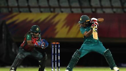 Ayesha Zafar of Pakistan cuts as Shamima Sultana of Bangladesh looks on during the warm up match between Bangladesh v Pakistan: Warm Up - ICC Women's World T20 2018 November 6, 2018 at the Guyana National Stadium in Providence, Guyana.