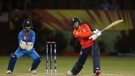 Danielle Wyatt of England bats with Taniya Bhatia of India looking on during the warm up match between England and India ahead of the ICC Women's World T20 2018 tournament at Guyana National Stadium on November 7, 2018 in Georgetown, Guyana.