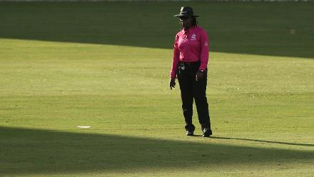 Umpire Jacquline Williams look on during the warm up match between West Indies and New Zealand ahead of the ICC Women's World T20 2018 tournament at Guyana National Stadium on November 7, 2018 in Georgetown, Guyana.