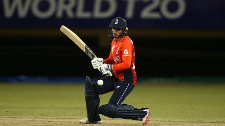 Danielle Hazell of England bats during the warm up match between England and India ahead of the ICC Women's World T20 2018 tournament at Guyana National Stadium on November 7, 2018 in Georgetown, Guyana.