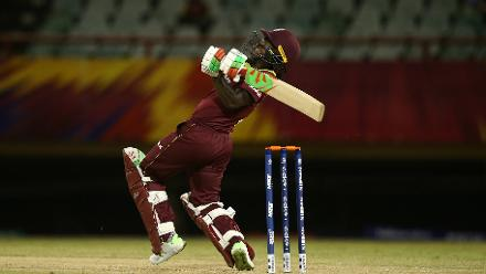 Deandra Dottin of Windies bats during the warm up match between Windies and New Zealand ahead of the ICC Women's World T20 2018 tournament at Guyana National Stadium on November 7, 2018 in Georgetown, Guyana.