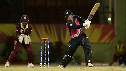 Jess Watkin of New Zealand bats during the warm up match between Windies and New Zealand ahead of the ICC Women's World T20 2018 tournament at Guyana National Stadium on November 7, 2018 in Georgetown, Guyana.
