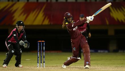 Hayley Matthews of Windies bats with Katey Martin of New Zealand looking on during the warm up match between Windies and New Zealand ahead of the ICC Women's World T20 2018 tournament at Guyana National Stadium on November 7, 2018 in Georgetown, Guyana.