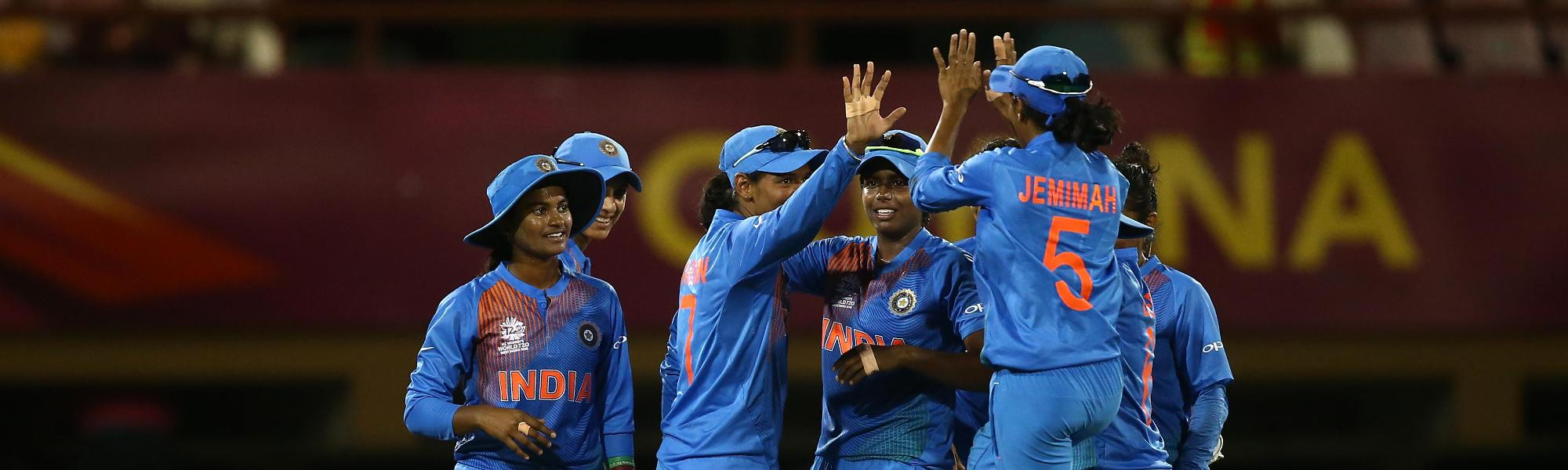 Harmanpreet Kaur of India celebrates a wicket with team mates during the warm up match between England and India ahead of the ICC Women's World T20 2018 tournament at Guyana National Stadium on November 7, 2018 in Georgetown, Guyana.