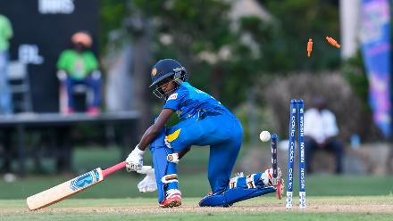 Kavisha Dilhari of Sri Lanka bowled during a warm-up match at Coolidge Cricket Ground on November 7, 2018 in Coolidge, Antigua and Barbuda.