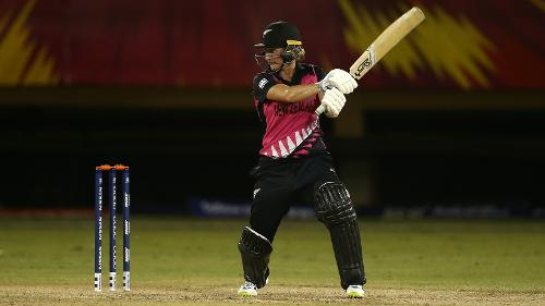 Sophie Devine of New Zealand bats during the warm up match between Windies and New Zealand ahead of the ICC Women's World T20 2018 tournament at Guyana National Stadium on November 7, 2018 in Georgetown, Guyana.