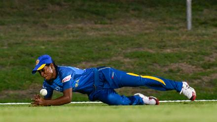 Udeshika Prabodani of Sri Lanka drops a catch during a warm-up match at Coolidge Cricket Ground on November 7, 2018 in Coolidge, Antigua and Barbuda.