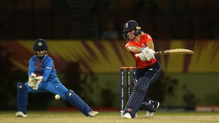 Lauren Winfield of England bats with Taniya Bhatia of India looking on during the warm up match between England and India ahead of the ICC Women's World T20 2018 tournament at Guyana National Stadium on November 7, 2018 in Georgetown, Guyana.
