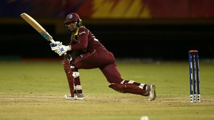 Hayley Matthews of Windies bats during the warm up match between Windies and New Zealand ahead of the ICC Women's World T20 2018 tournament at Guyana National Stadium on November 7, 2018 in Georgetown, Guyana.