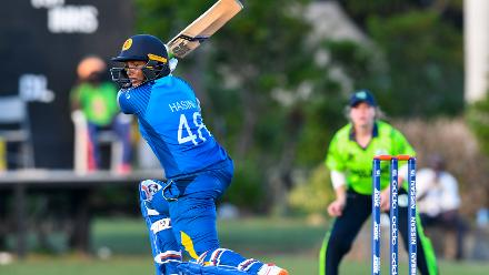 Hasini Perera of Sri Lanka hits 4 during a warm-up match at Coolidge Cricket Ground on November 7, 2018 in Coolidge, Antigua and Barbuda.