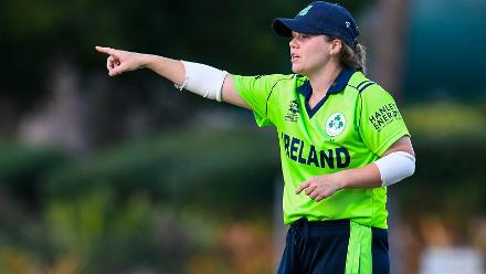 Laura Delany of Ireland sets the field during a warm-up match at Coolidge Cricket Ground on November 7, 2018 in Coolidge, Antigua and Barbuda.