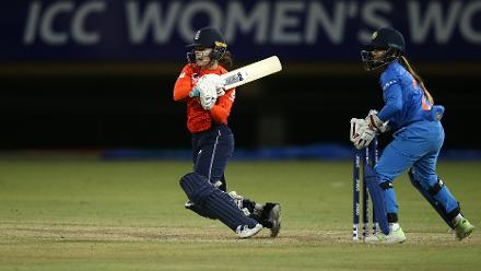 Tammy Beaumont of England bats with Taniya Bhatia of India looking on during the warm up match between England and India ahead of the ICC Women's World T20 2018 tournament at Guyana National Stadium on November 7, 2018 in Georgetown, Guyana.