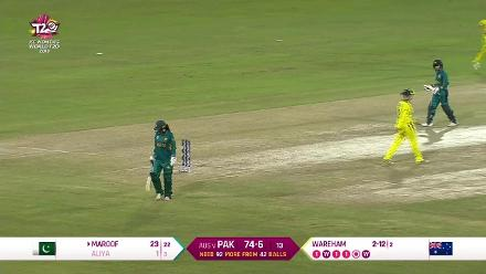 Aus v Pak: Aliya Riaz caught behind for 1