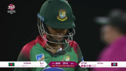 WT20 Match 3: Nigar Sultana loses her wicket against the Windies