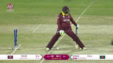 WI v Ban: Natasha McClean is bowled for 11
