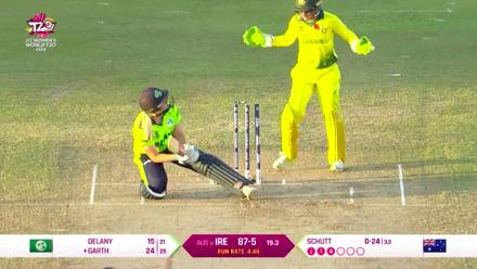 AUS v IRE: Kim Garth is bowled by Megan Schutt
