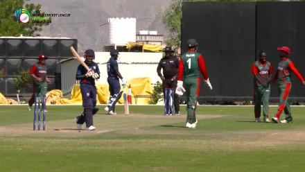 WCL Div 3 – USA batsman Timil Patel loses his wicket against Kenya